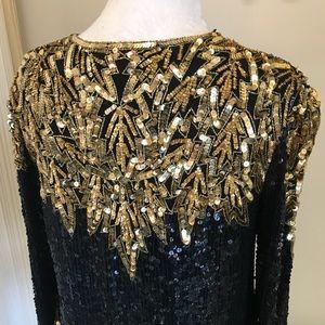 Vintage Tops - vintage 1980s black & gold beads sequins silk top